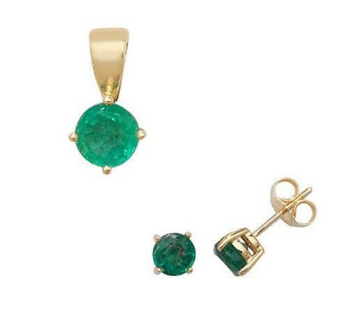 Emerald Pendant and Earrings Set Classic Solitaire 9ct Yellow Gold Hallmarked